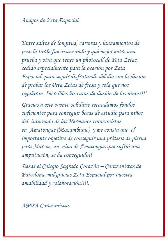 Carta de agradecimiento del AMPA Corazonista a Peta Zetas