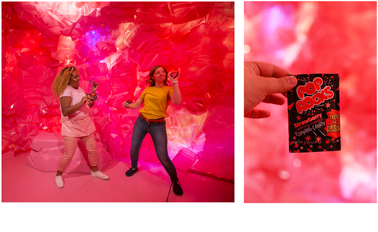 Ally Mode y Melia Robinson en la caverna de Pop Rocks con una bolsa de Pop Rocks popping candy
