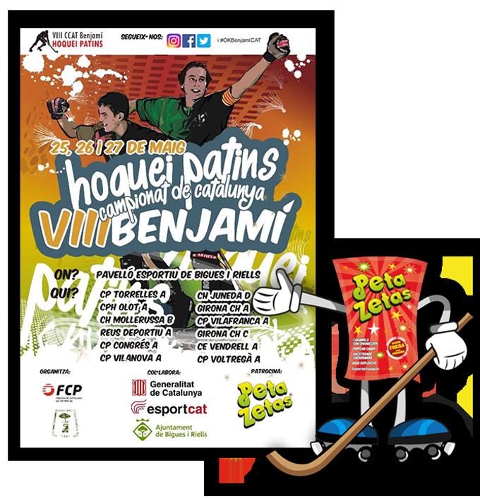 Cartel publicitario del VIII Campionat de Catalunya hoquei patin Benjami patrocinado por el popping candy Peta Zetas.