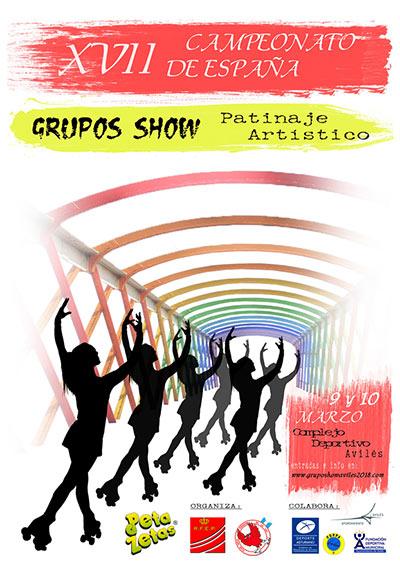 Cartel del Campeonato de España Grupos Show patrocinado por Peta Zetas.