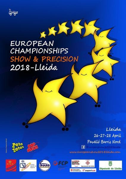 Cartel del Campeonato Europeo de patinaje de grupos show y precisión patrocinado por Peta Zetas y Pop Rocks
