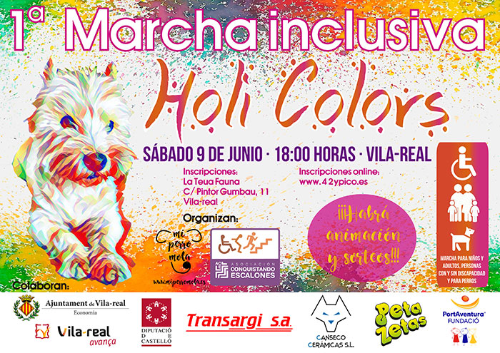 Cartel de la primera marcha inclusiva Holi Colors patrocinado por Peta Zetas organizado por la Asociación Conquistando Escalones, que tendrá lugar en el centro de la ciudad de Vila Real.