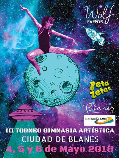 Cartel del Trofeo de Gimnasia artística Blanes patrocinado por Peta Zetas