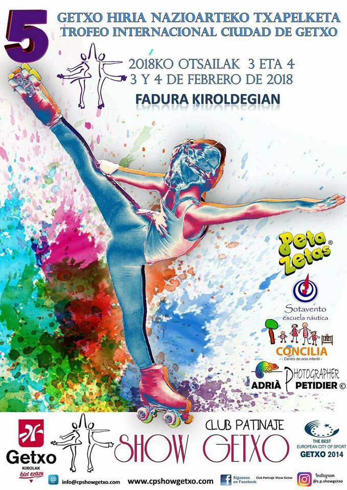 Cartel del V trofeo ciudad Getxo  de patinaje artístico patrocinado por Peta Zetas.