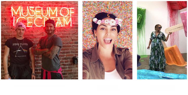 David Beckham, Jenna Dewan y Beyoncé en el Museo del Helado en colaboración con Pop Rocks popping candy.