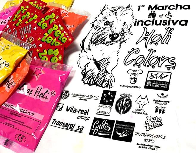 Kit de bienvenida para la primera marcha inclusiva Holi Colors el cuál incluía una camiseta, colores en polvo y muchas bolsas de Peta Zetas.