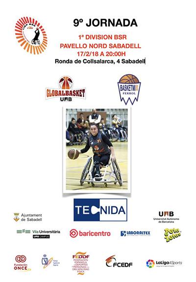 Pancarta del partido de 1º división BSR donde se enfrentan Basketmi y Global basket, patrocinado por Peta Zetas.
